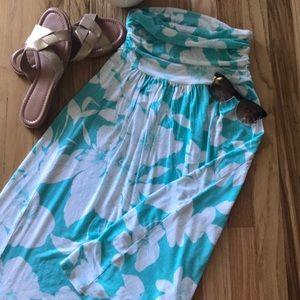 Floral Print Strapless Dress